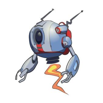 Vliegende bolvormige robot. illustratie op witte achtergrond.