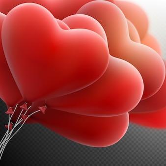 Vliegende bos van rode hartenballon.