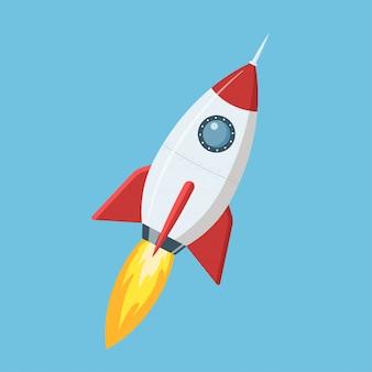 Vliegende cartoon raket in vlakke stijl