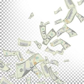 Vliegende dollarbankbiljetten