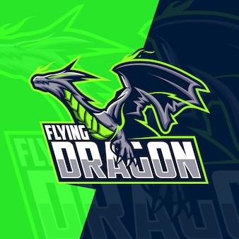 Vliegende draak mascotte esport logo ontwerp