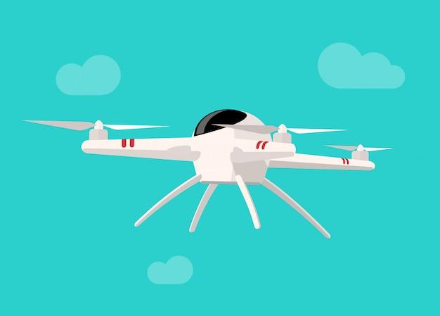 Vliegende drone geïsoleerd op blauwe hemel platte cartoon als achtergrond