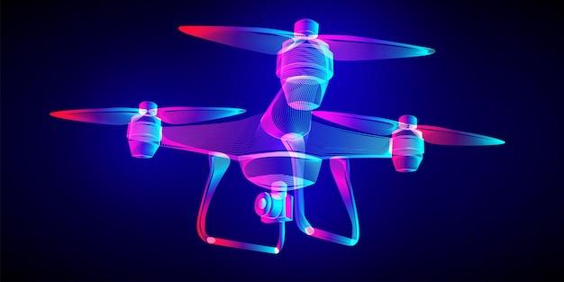 Vliegende drone met een luchtfoto of actievideocamera. overzicht vector quadrocopter draadframe in een fluorescerende neon lijn kunststijl. 3d abstracte illustratie op een donkerblauwe achtergrond