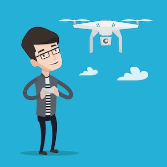 Vliegende drone vectorillustratie man.