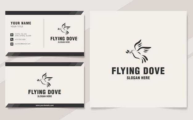 Vliegende duif logo sjabloon op monogram stijl