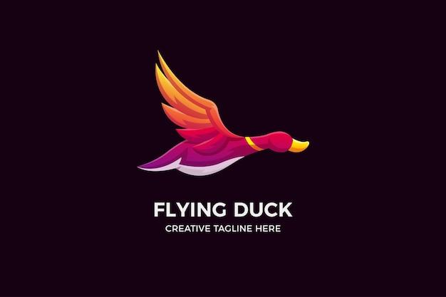 Vliegende eend kleurovergang 3d-logo sjabloon