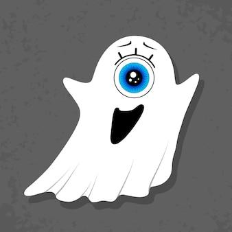 Vliegende eenogige geest op een donkergrijze achtergrond. leuk karakter. angst. bang maken. halloween. vectorillustratie in een vlakke stijl