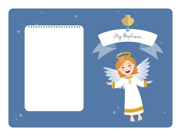 Vliegende engel. mijn doop horizontale uitnodiging met bericht. vlakke afbeelding