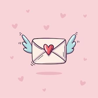 Vliegende envelop met hartstempel en vleugels in doodle stijl op roze achtergrond met hartjes