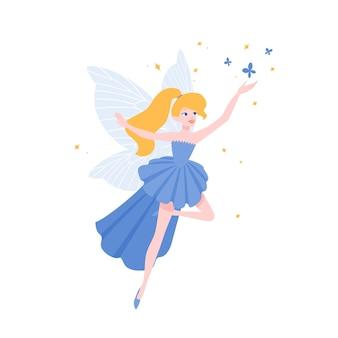 Vliegende fee in prachtige elegante jurk geïsoleerd op een witte achtergrond. mythologisch of folkloristisch gevleugeld magisch wezen, legendarisch of sprookjesachtig personage. platte cartoon kleurrijke vectorillustratie.