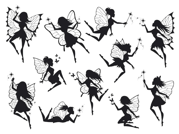 Vliegende fee silhouetten met vleugels
