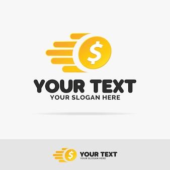 Vliegende geld logo set kleurrijke stijl met munt voor verandering