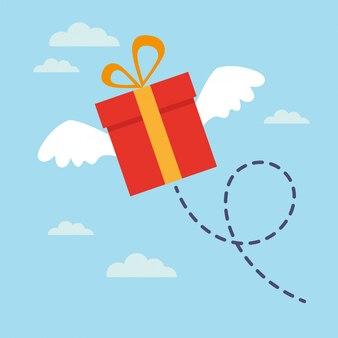 Vliegende geschenk met vleugels in de lucht
