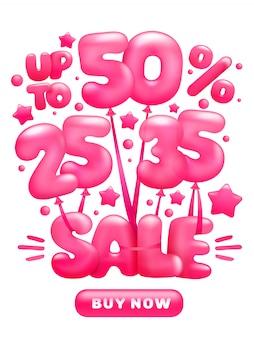 Vliegende glanzende roze ballonnen met verkoop letters korting concept.