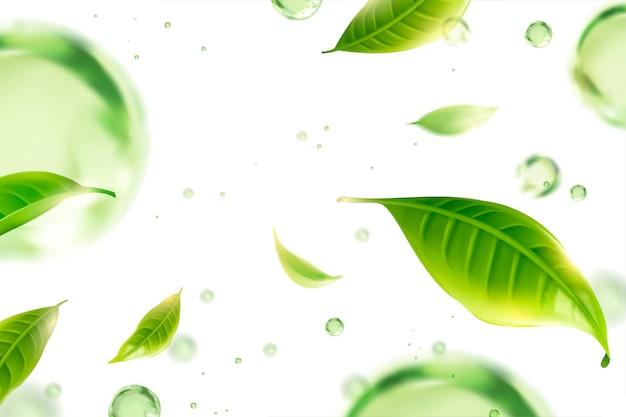 Vliegende groene theeblaadjes en waterdruppels