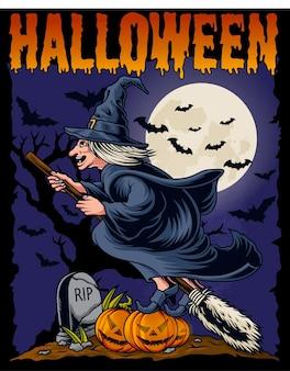 Vliegende heks halloween vectorillustratie vector sjabloon op geïsoleerde background