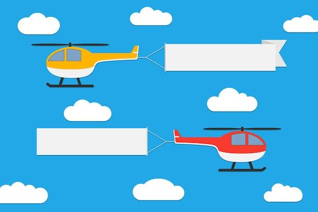 Vliegende helikopters met banners set van reclamelinten op blauwe hemelachtergrond