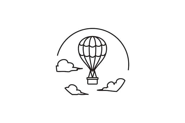 Vliegende hete luchtballon lijn pictogram minimalistische vliegreizen vector logo sjabloon vectorillustratie
