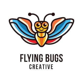 Vliegende insecten creatief logo sjabloon