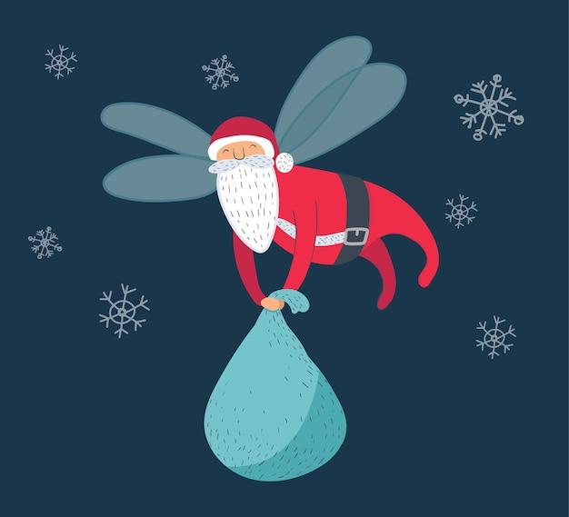 Vliegende kerstman draagtas, kerst vectorillustratie, grappig stripfiguur met vleugels