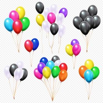 Vliegende kleurrijke partij helium ballon bos op string geïsoleerde set