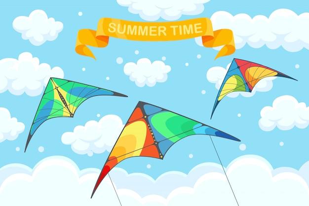 Vliegende kleurrijke vlieger in de lucht met wolken op de achtergrond. zomerfestival, vakantie, vakantietijd. kitesurfen concept. illustratie. tekenfilm
