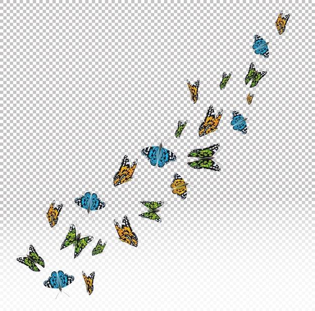 Vliegende kleurrijke vlinders geïsoleerd op transparante achtergrond