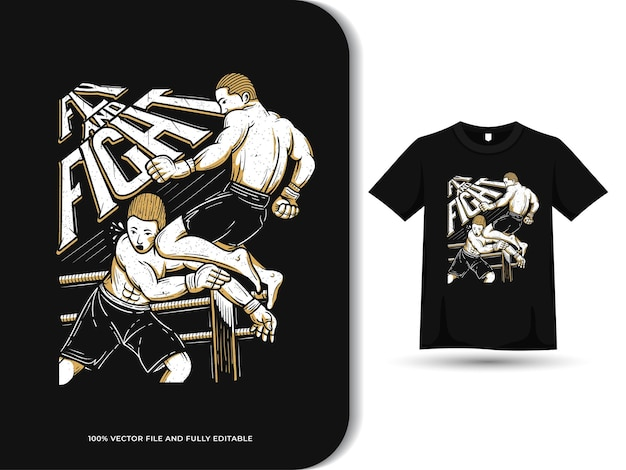 Vliegende knie gemengde vechtsporten vechten illustratie t-shirt ontwerpsjabloon