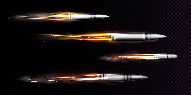 Vliegende kogels met vuur en rooksporen. schieten van militaire pistolen, geweerschoten in beweging, metalen wapens, geïsoleerde munitie