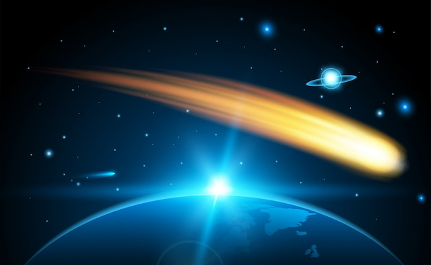 Vliegende kosmische meteoor, planetoïde, komeet, vuurbal.