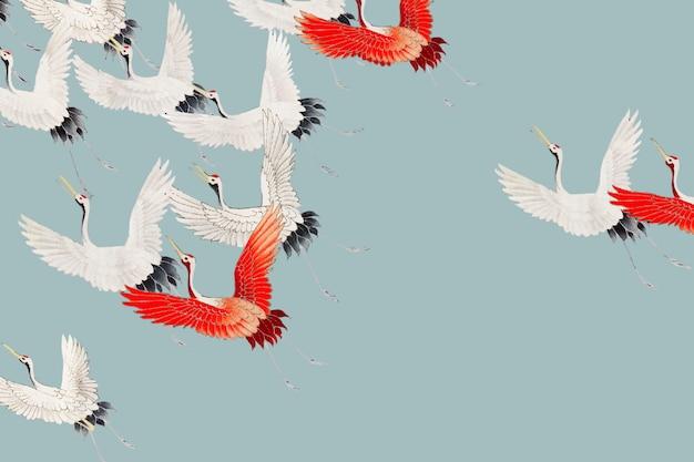 Vliegende kranenachtergrond