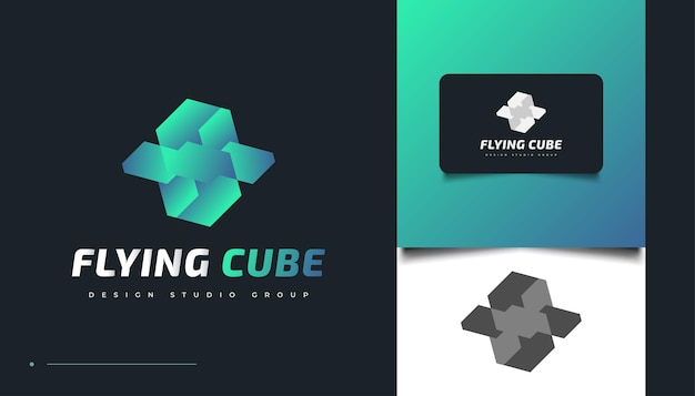 Vliegende kubus logo ontwerpsjabloon. 3d kubiek pictogram of symbool