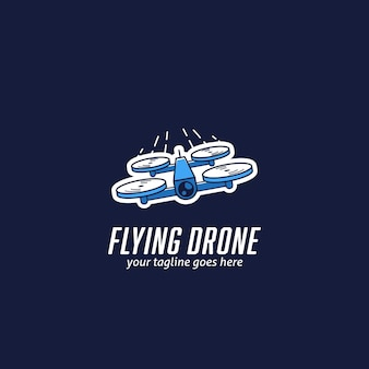 Vliegende mini race drone logo, snelle quadcopter drone race logo pictogram illustratie vector