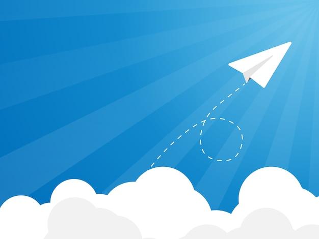 Vliegende papieren vliegtuig, lancering,