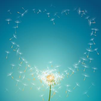 Vliegende parachutes van paardebloem die liefde bloemenkaderachtergrond vormen