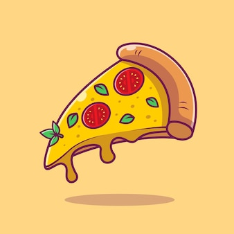 Vliegende plak van pizza cartoon vectorillustratie. fast food concept geïsoleerde vector. flat cartoon stijl