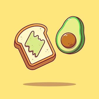 Vliegende plakje avocado toast platte cartoon afbeelding geïsoleerd