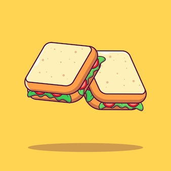 Vliegende plakje verse groentesandwich platte cartoon afbeelding geïsoleerd