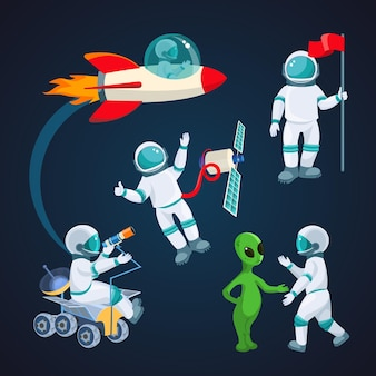 Vliegende raket, ruimtevaarder met satelliet, kosmonaut met rode vlag, alien die met astronaut spreekt, wetenschapper met telescoop die rond rode planeet op achtergrond van kosmische hemelillustratie wordt geïsoleerd
