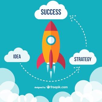 Vliegende raket succes diagram vector