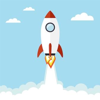 Vliegende raketachtergrond