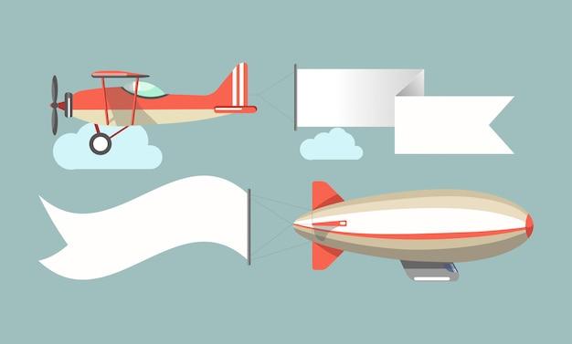Vliegende reclamevoertuigen vectorpictogrammen