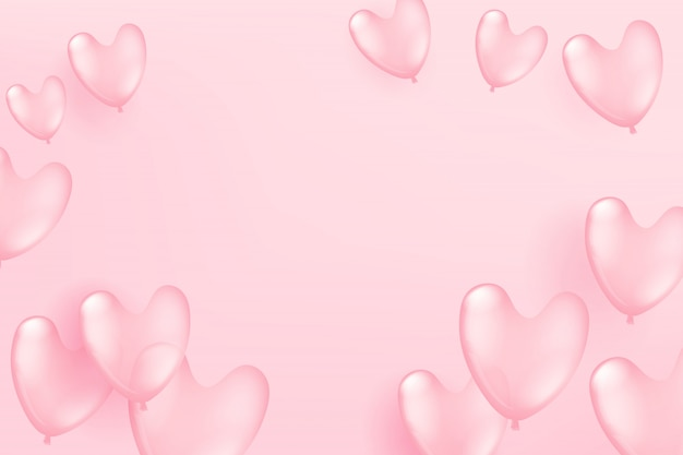 Vliegende roze ballonnen op roze achtergrond. valentine's day en mother`s day viering kaartsjabloon