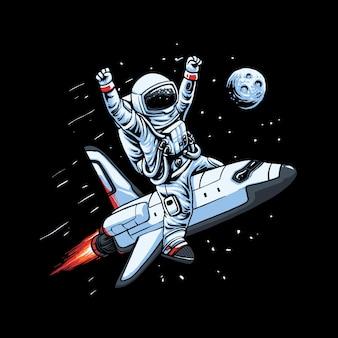 Vliegende ruimteschip astronaut illustratie