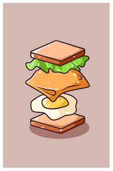 Vliegende sandwich brood ingrediënten cartoon afbeelding