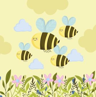 Vliegende schattige bijen