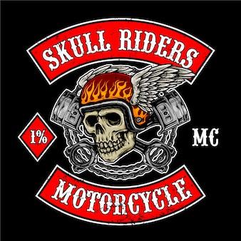 Vliegende schedel met zuigers voor motorclub logo