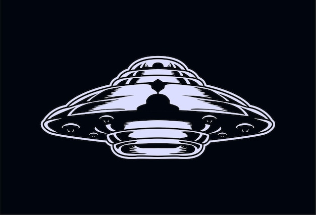Vliegende schotel ufo illustratie gedetailleerd en bewerkbaar