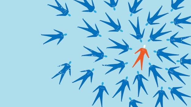 Vliegende silhouttes van zakenlieden