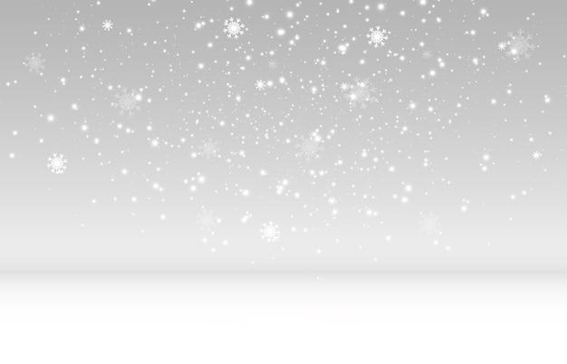 Vliegende sneeuw op een transparante achtergrond. natuurlijk fenomeen van sneeuwval of sneeuwstorm.